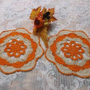 "Handmade Crocheted Fall Doily Set - 10"""